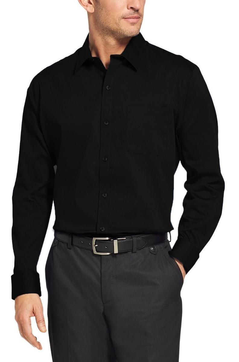 9c3c48337a camisa social masculina manga longa preta fit uniforme. Carregando zoom.
