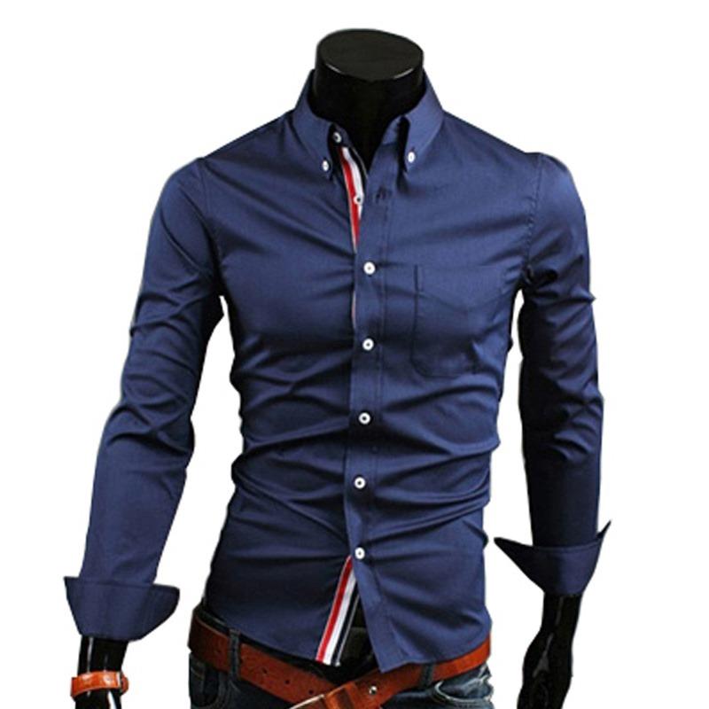4bd60fc726 camisa social masculina manga longa slim fit azul marinho bh. Carregando  zoom.