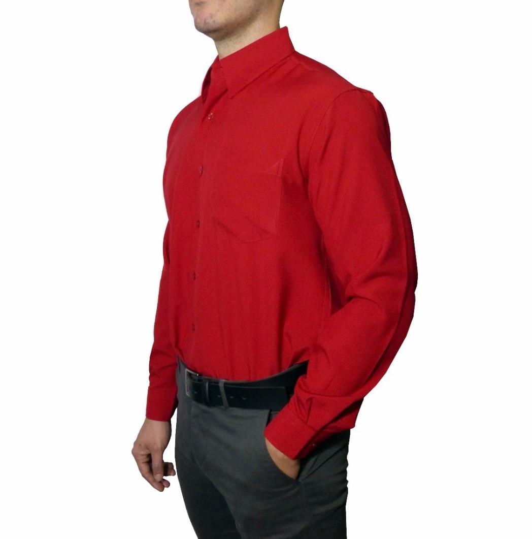074a5fd7e8 camisa social masculina manga longa vermelha trabalho barato. Carregando  zoom.