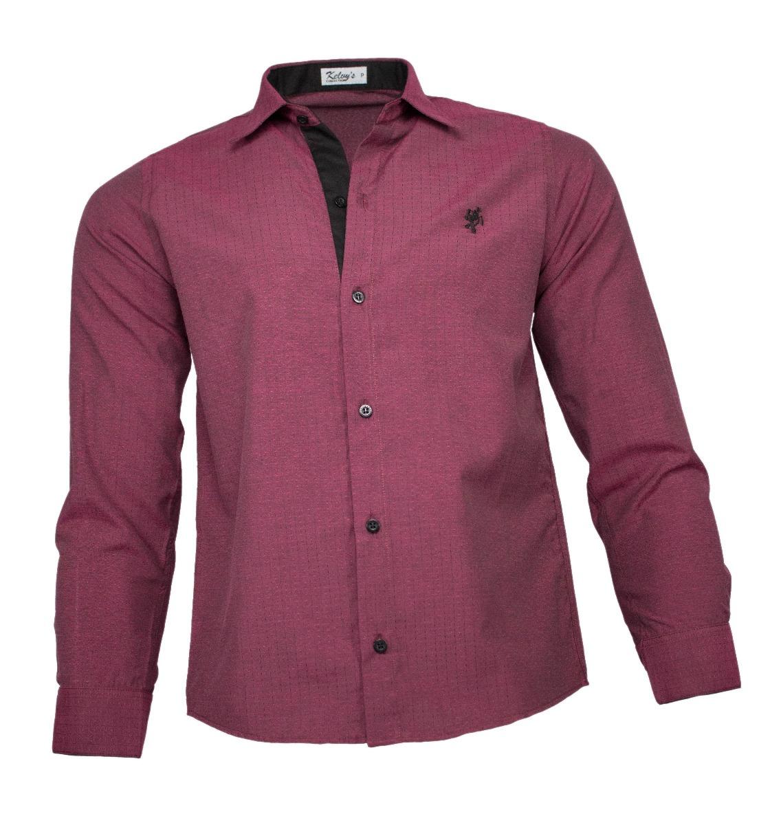 camisa social masculina marsala maquinetado. Carregando zoom. bdcdd4fa29e