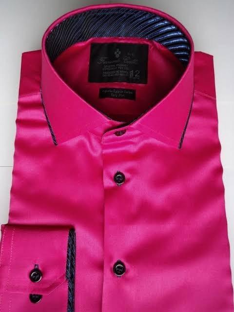 cfb2f86b43 Camisa Social Masculina Pink- Tamanho Especial - R  189