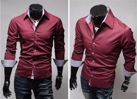 008f58a72c9 Camisa Social Masculina Slim Fit Bordô Com Azul Importada