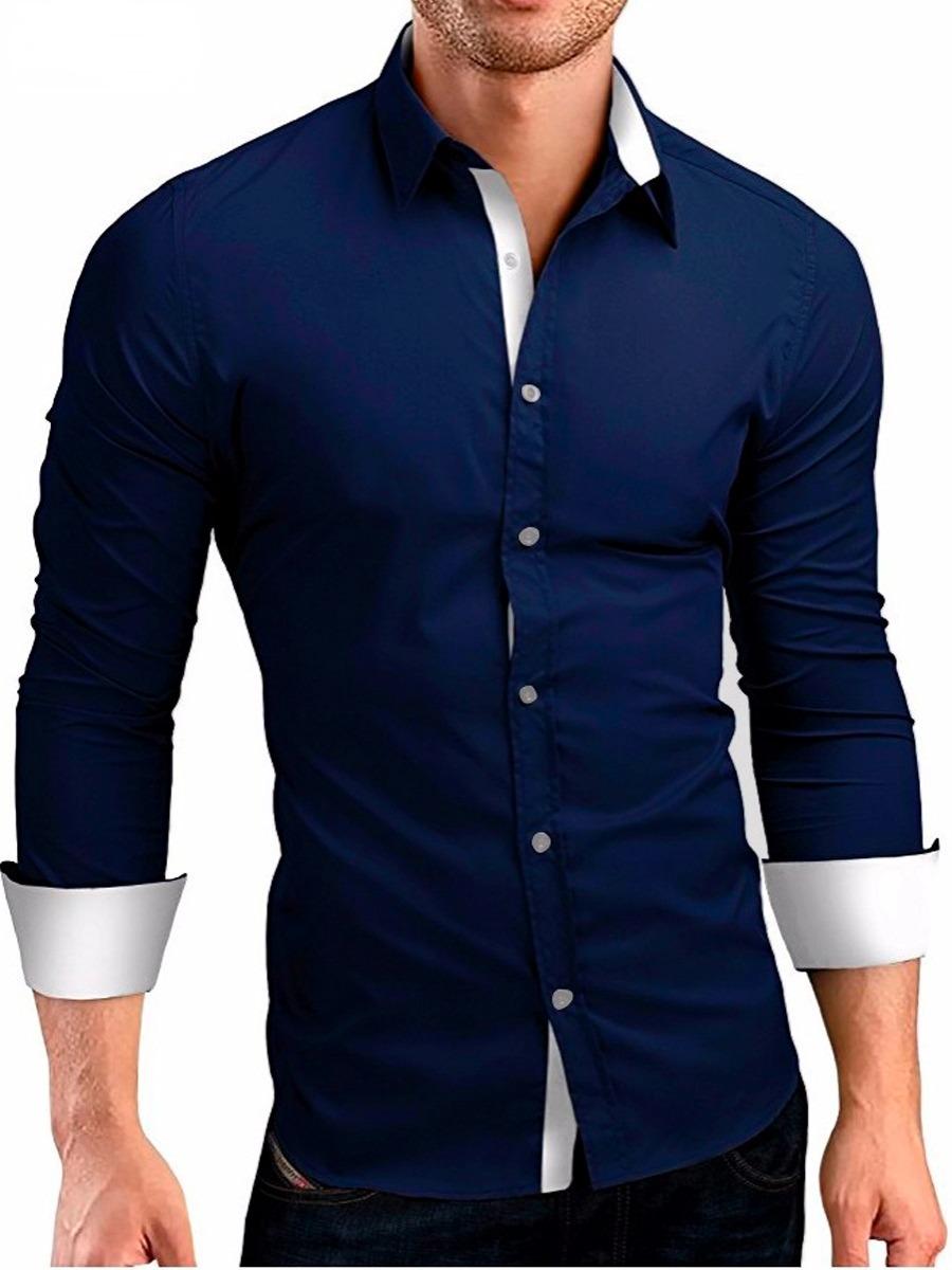 21e8f3437b camisa social masculina slim fit camiseta blusa manga longa. Carregando  zoom.