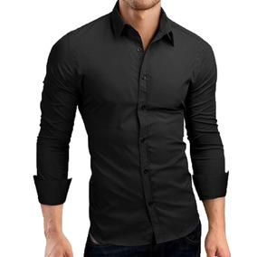 78b54a120e Camisa Social Preta - Camisa Formal Longa Masculinas com o Melhores Preços  no Mercado Livre Brasil