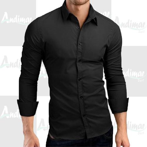 camisa social masculina slim fit casual moderna luxo preta
