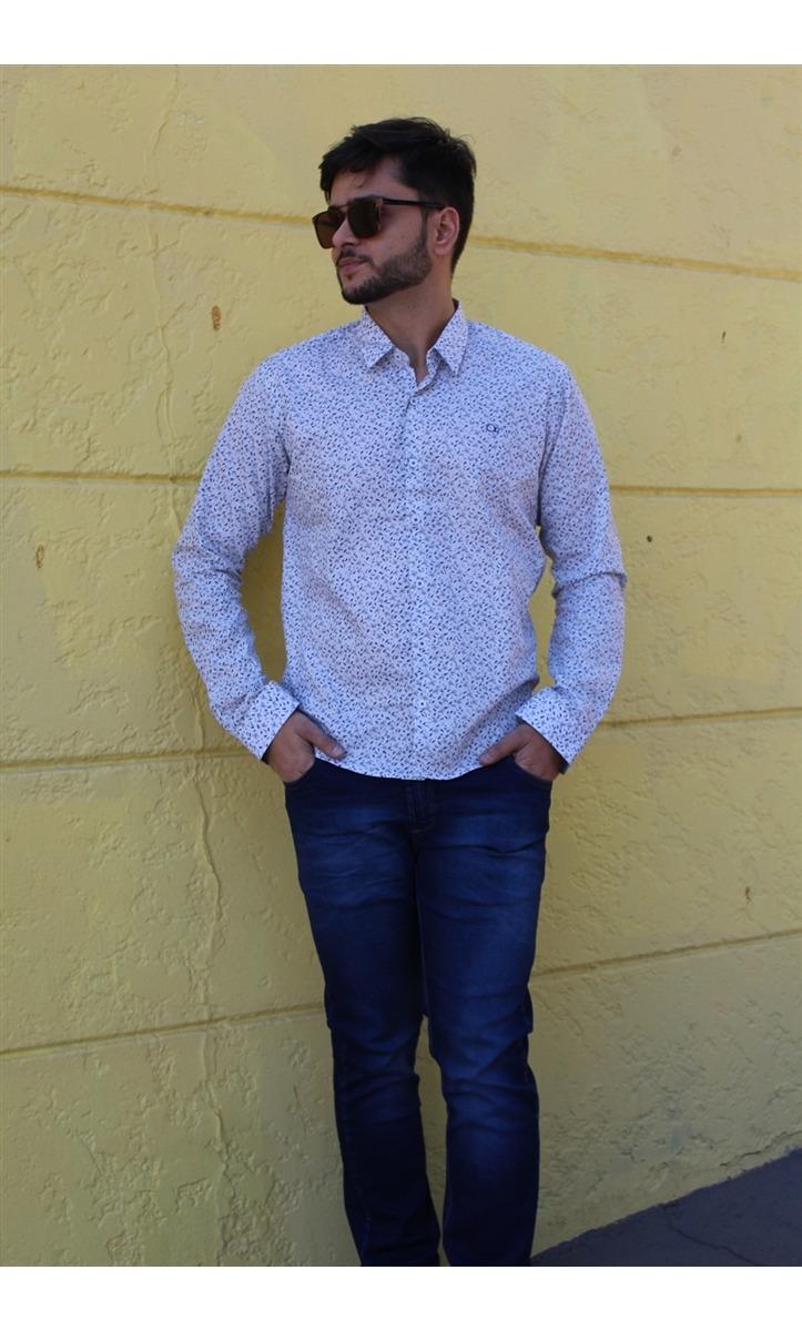 283a2e73f7 camisa social masculina slim fit estampada ogochi. Carregando zoom.