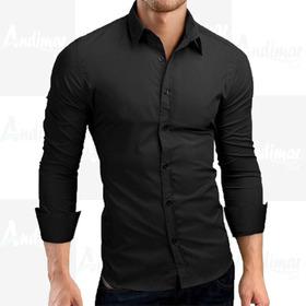 Camisa Social Masculina Slim Fit Lisa Preta Estilosa Moderna