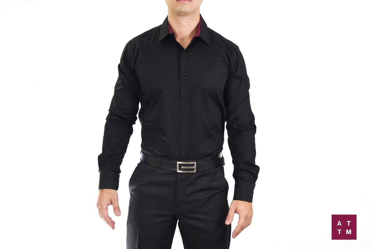 camisa social masculina - slim fit - tecido com 3% elastano. Carregando zoom . 4b28576e72284