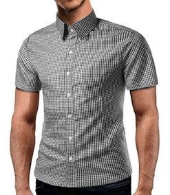 0baf57101c Camisa Social Manga Curta Slim Estampada - Camisa Longa com o ...