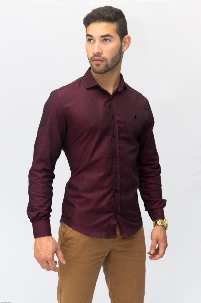 a052891537c77 camisa social masculina slim vinho frete grátis. Carregando zoom.