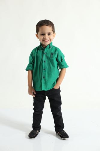 camisa social masculina tal pai tal filho verde -  green day