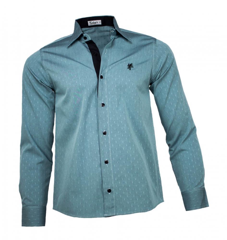 307fcd4e5c Camisa Social Masculina Verde Maquinetado - R$ 89,90 em Mercado Livre