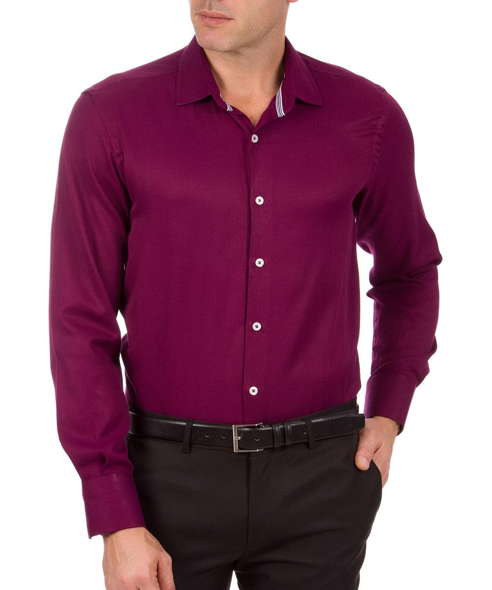 d379fa5635 Camisa Social Masculina Vinho Lisa Colombo - R$ 59,99 em Mercado Livre