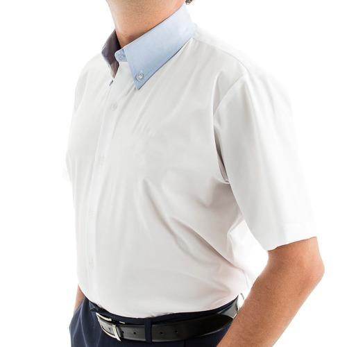 4d9864e45 Camisa Social M c Masculina Branca C  Stretch E Detalhe Azul - R  80 ...
