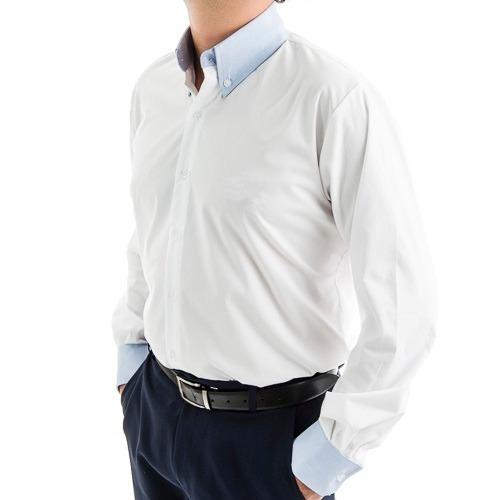 fb5955e960 Camisa Social M l Masculina Branca Com Stretch E Detalhes - R  90