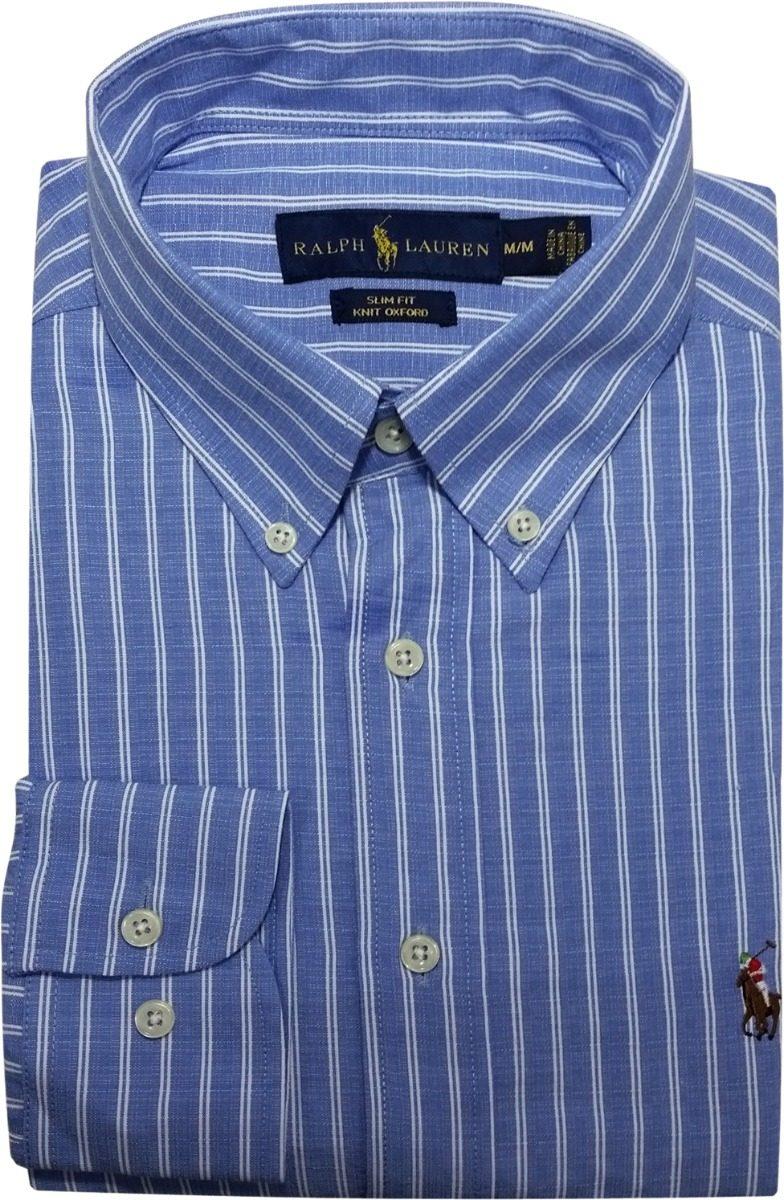 camisa social polo ralph lauren listrada azul claro branca. Carregando zoom. f4083420b91