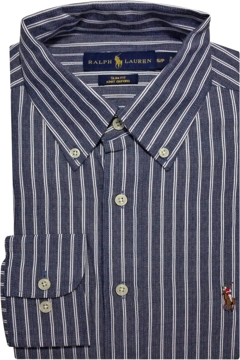 camisa social polo ralph lauren listrada azul escuro branca. Carregando zoom . f4c3caf904b