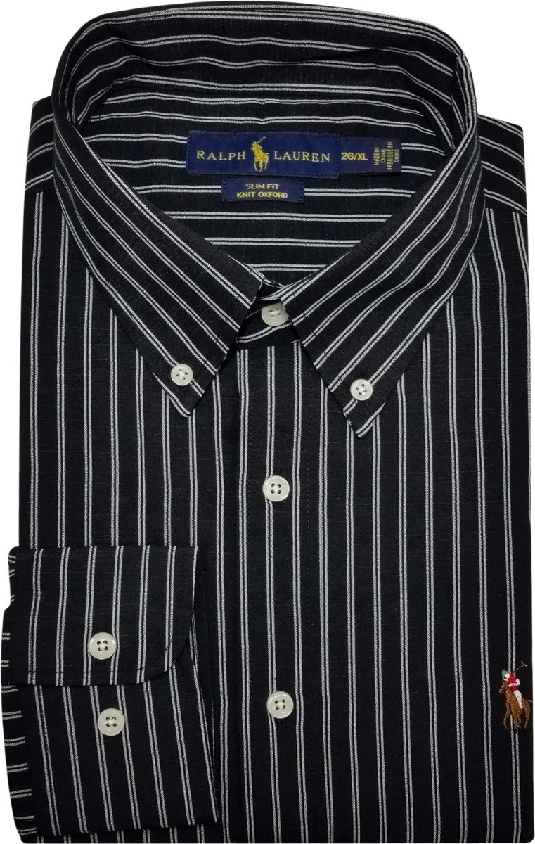 Carregando zoom. f5acc78ef86 camisa social polo ralph lauren masculina  listrada preta. Carregando zoom. 374b95d8601