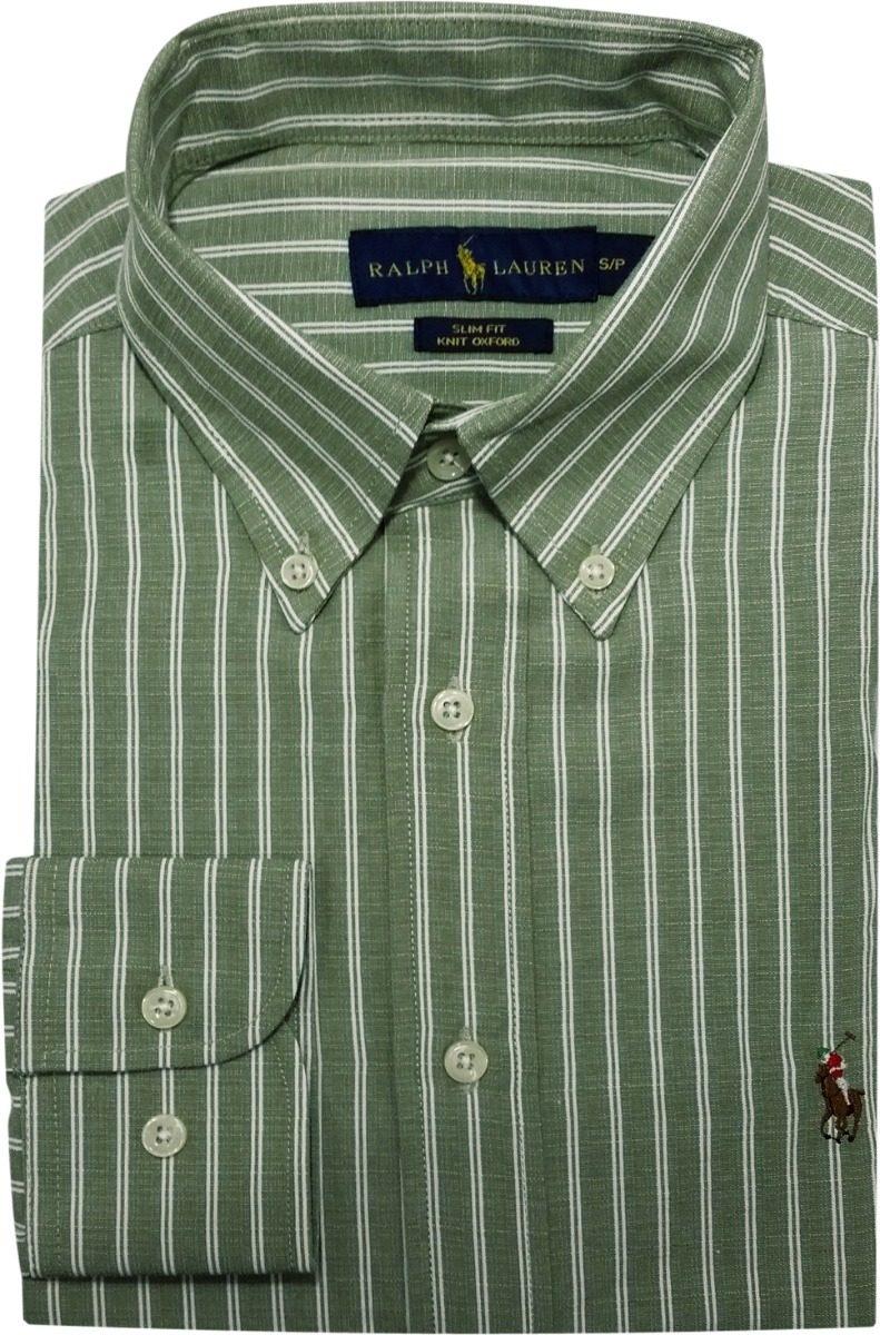 camisa social polo ralph lauren masculina listrada verde. Carregando zoom. 7cb60911b2839