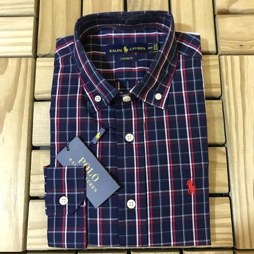camisa social polo ralph lauren masculina xadrez azul escuro