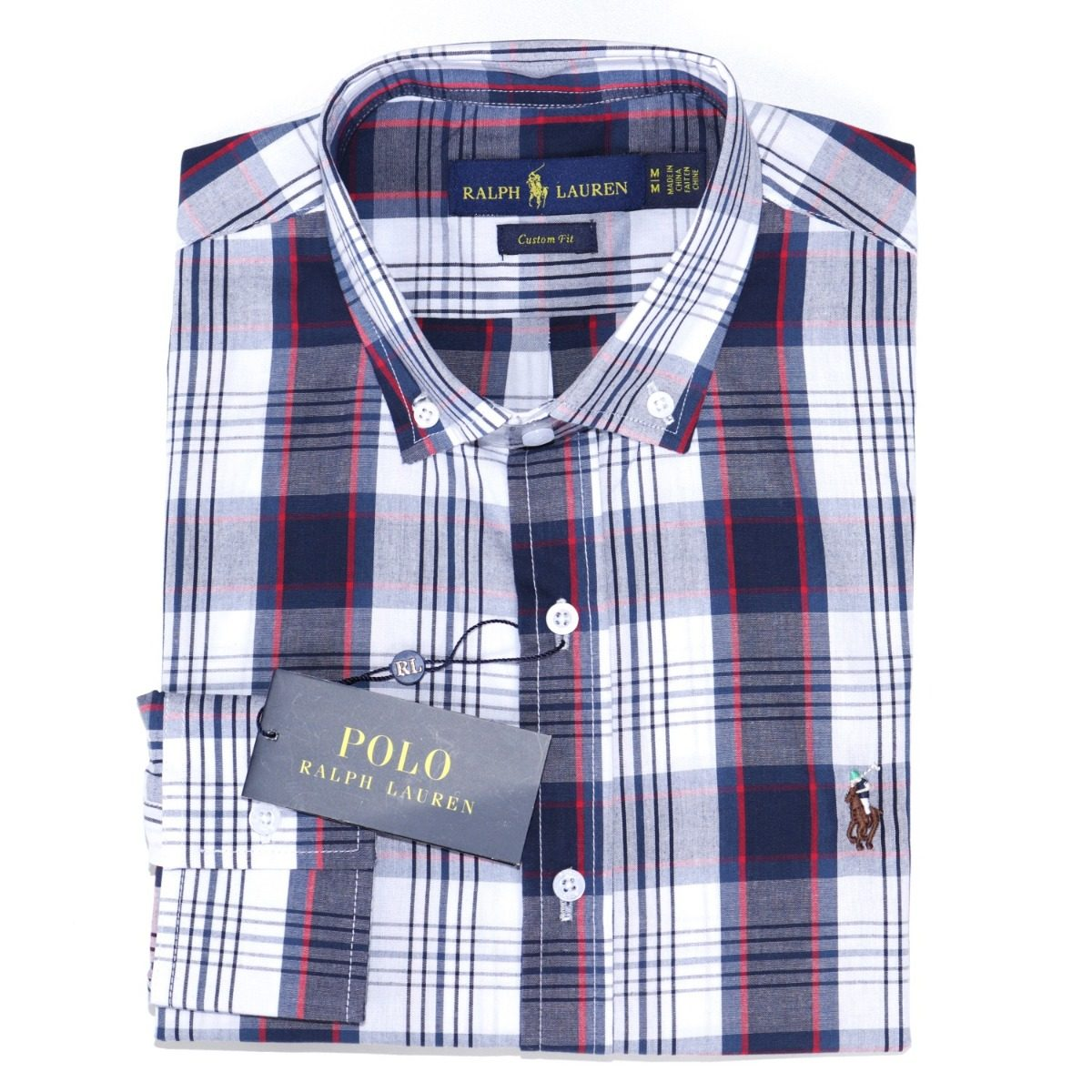 camisa social ralph lauren c fit xadrez branco azul original. Carregando  zoom. b80995b5234