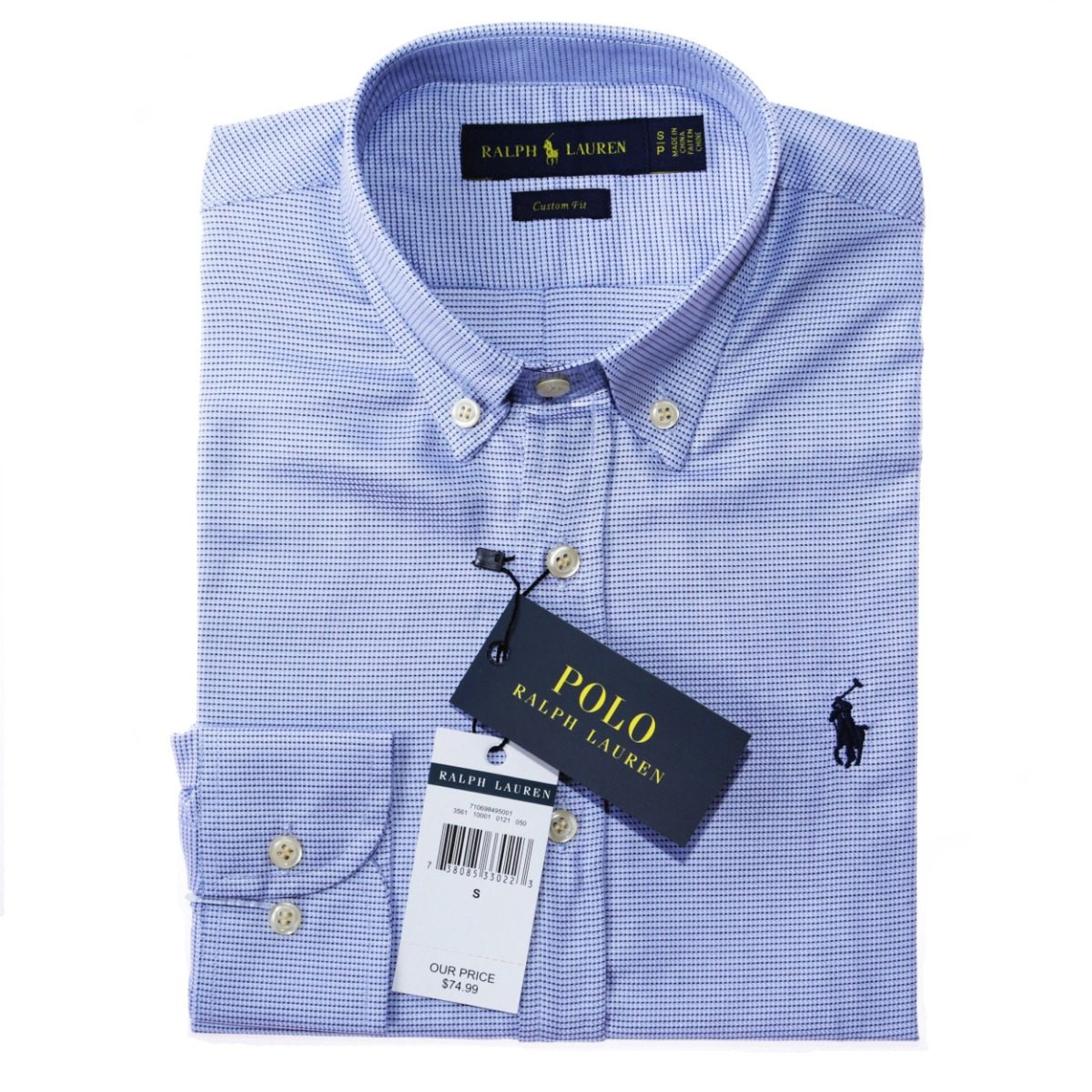 Camisa Social Ralph Lauren Cfit Fio A Fio Azul Masc Original - R ... 96f2236dae82d