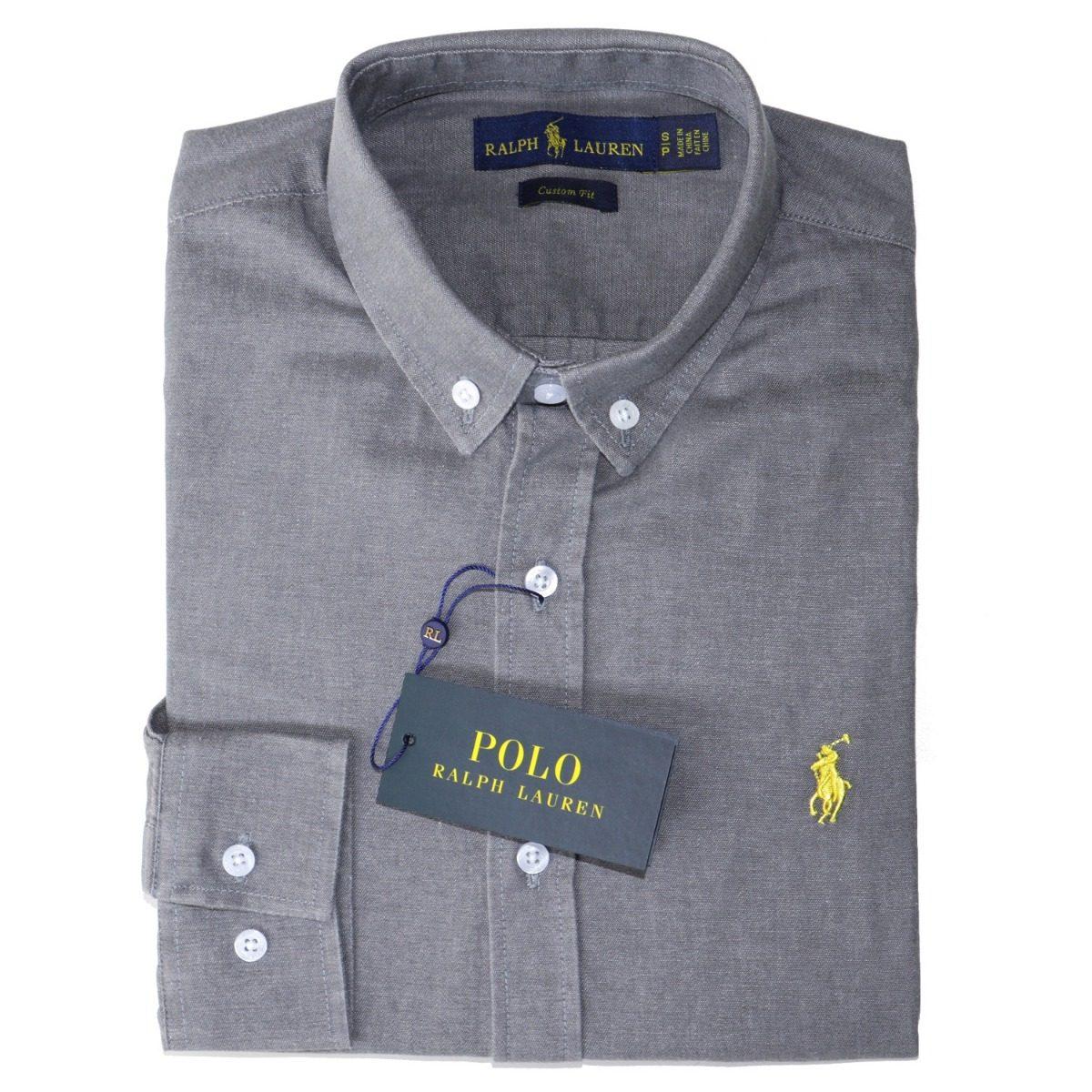 camisa social ralph lauren cst fit cinza masculino original. Carregando zoom . d46dcbb8ee8