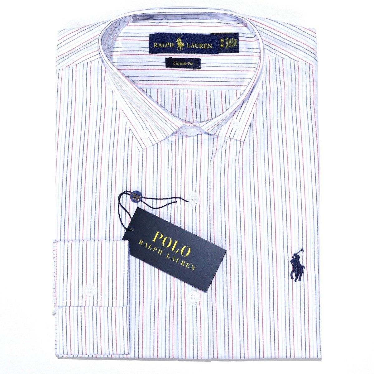 camisa social ralph lauren cst fit listrada branca original. Carregando  zoom. d164eb73873