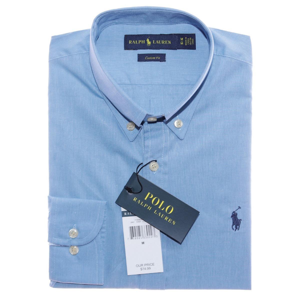 camisa social ralph lauren masc azul aço custom fit original. Carregando  zoom. c91350fddbe