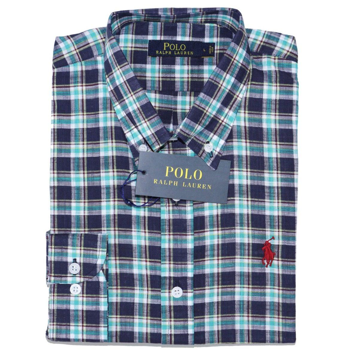 camisa social ralph lauren masc linho xadrez verde original. Carregando  zoom. 7307a4bea9560