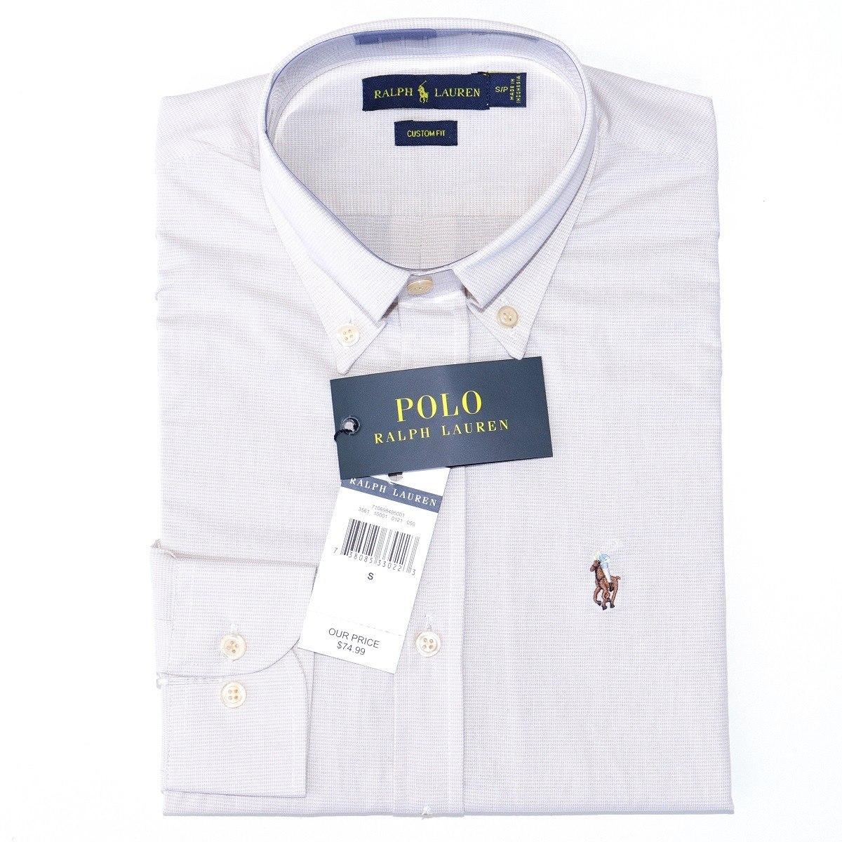 Camisa Social Ralph Lauren Mascul Cst Fit Off White Original - R ... 005fa348892a6