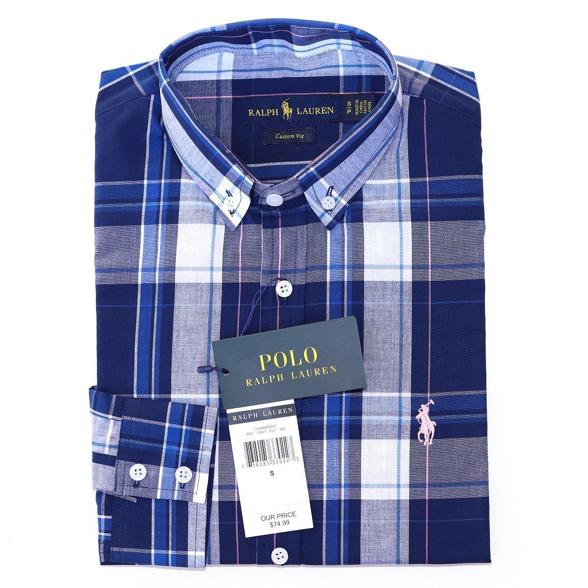 camisa social ralph lauren xadrez azul bordado rosa original. Carregando  zoom. 75ac7a78488