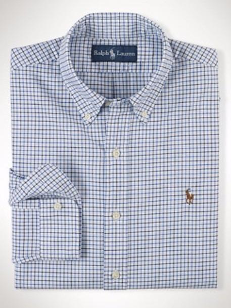 e2ac68df22 Camisa Social Ralph Lauren Xadrez Azul Claro Frete Grátis - R  219 ...