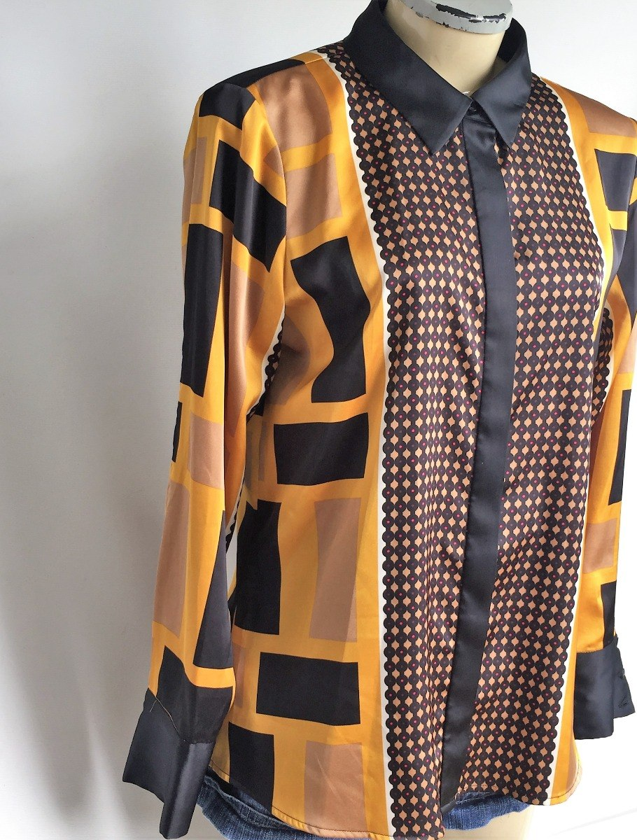 db062af4bb Camisa Social Retrô Vintage Calvin Klein Seda Lenço Tam.42 - R  110 ...