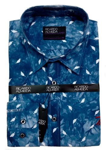 Camisa Social Ricardo Almeida Azul Office Estampada Penas - R  139 ... 5816d141de319