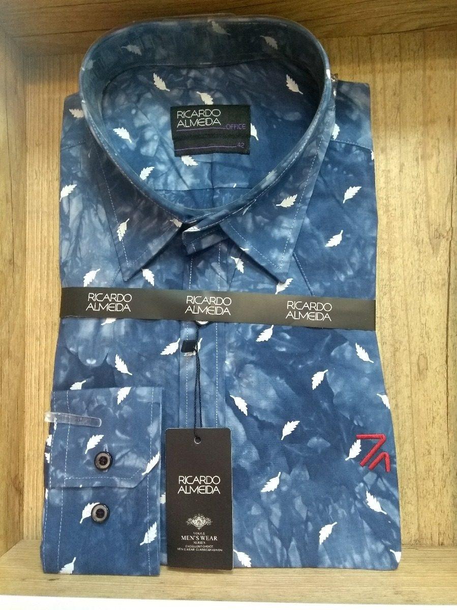 camisa social ricardo almeida estampada penas. Carregando zoom. dbb127e11697c