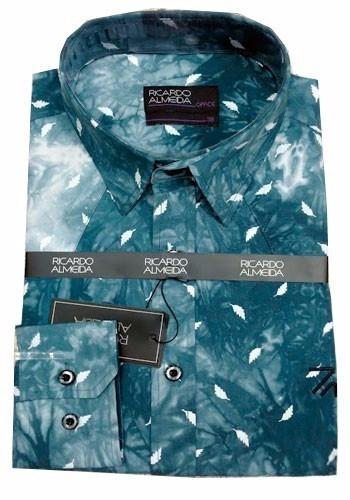 Camisa Social Ricardo Almeida Marrom Office Estampada Penas - R  139 ... a12c102ce02ef
