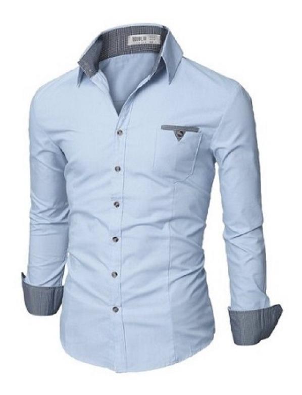 a54bc13187 Camisa Social Slim Dubai Detalhe Xadrez Frete Grátis P/ 2 Un - R$ 79 ...