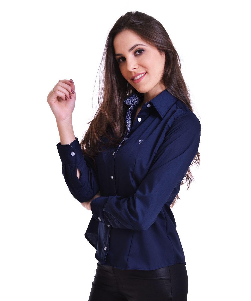 camisa social slim feminina azul marinho manga longa. Carregando zoom. 370f3a6bd629d