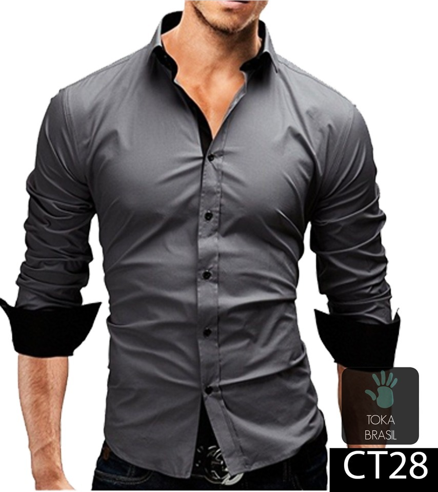 camisa social slim fit 100% algodão mod ct28. Carregando zoom. 80efd92dae9