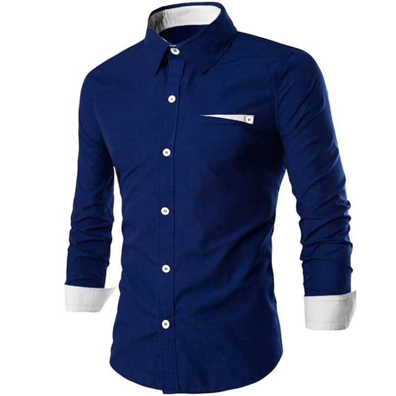 Camisa Social Slim Fit Azul Marinho Masculina Manga Longa Bh - R  79 ... c5f47a19df676