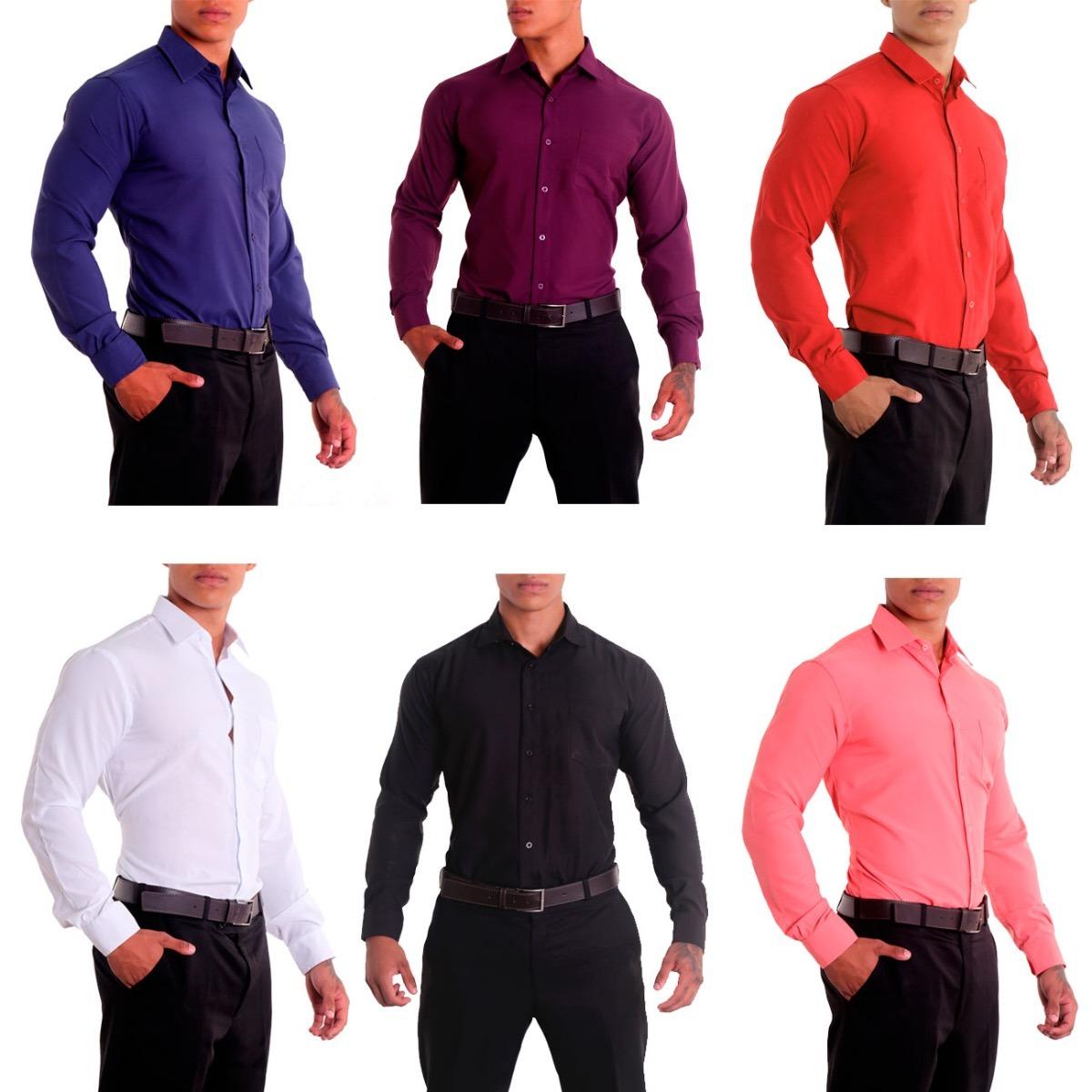 camisa social slim fit masculina 100% poliéster. Carregando zoom. f99c52981e3