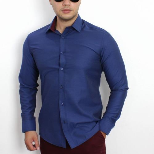 camisa social slim fit vivacci gola dupla classic kit 3 unid