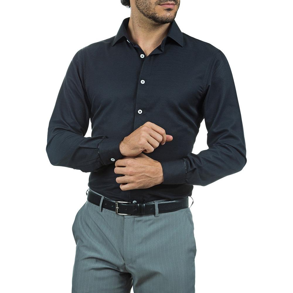 f36f00bdbe camisa social slim masculina preta lisa colombo. Carregando zoom.