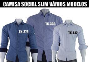 1b728c5cce Camisa Verde Água - Camisa Social Manga Longa Masculino no Mercado Livre  Brasil