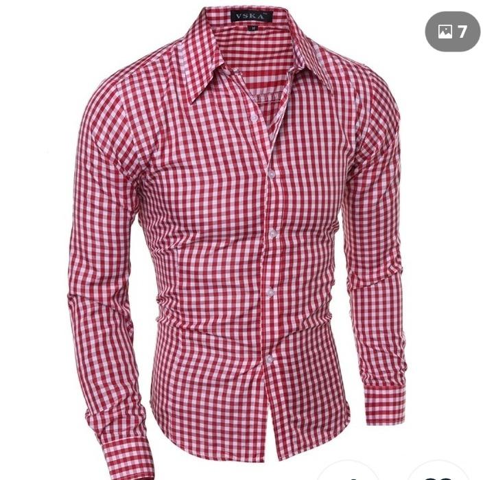 dc4301c0d Camisa Social Slim Xadrez Vermelha Masculina - R  59