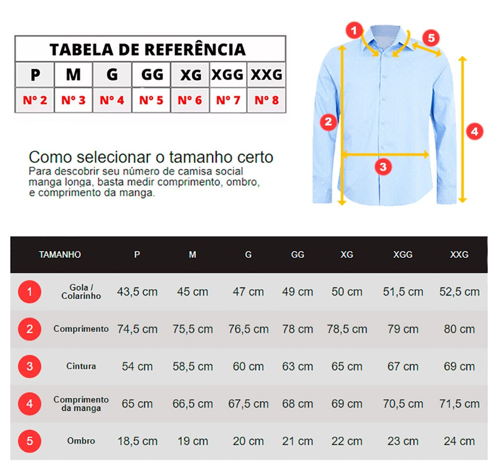 fe0a39e5f Camisa Social Tamanho Especial Extra Grande Numero 6 7 8 - R  55