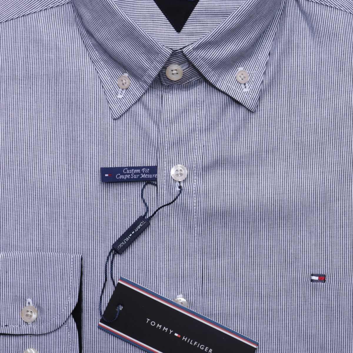 camisa social tommy hilfiger cst fit listrada preto original. Carregando  zoom. dbb9a23efc0c0
