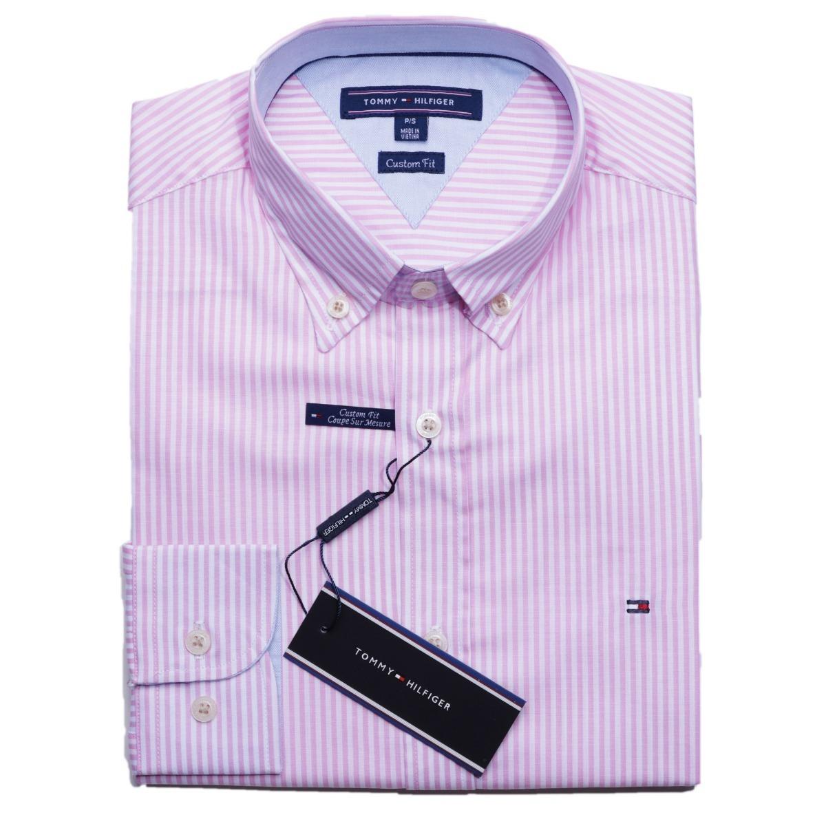 camisa social tommy hilfiger cst fit listrada rosa original. Carregando zoom . 97d47d467300d