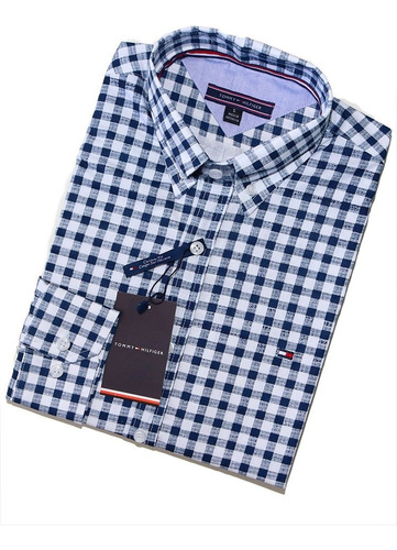 camisa social tommy hilfiger custom fit quadriculada branca